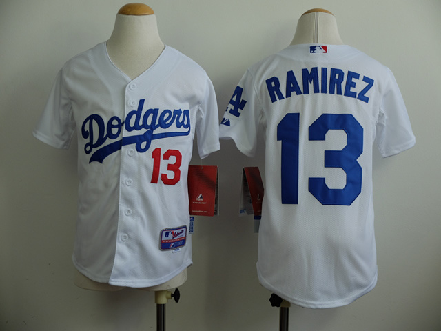 Youth MLB Los Angeles Dodgers 13 Hanley Ramirez White 2014 Jerseys