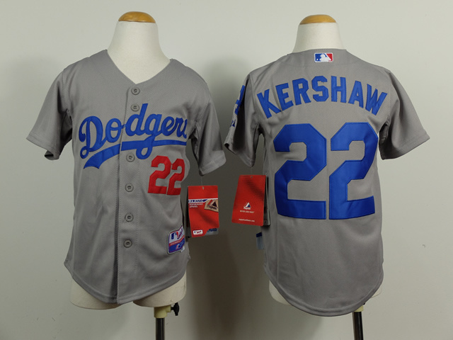Youth MLB Los Angeles Dodgers 22 Clayton Kershaw Grey 2014 Jerseys