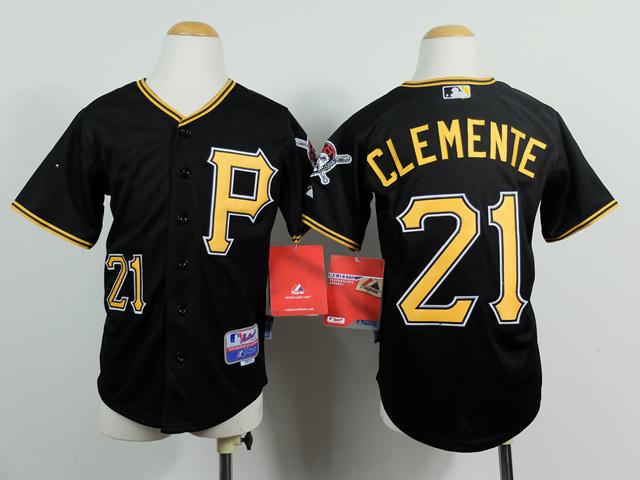 Youth MLB Pittsburgh Pirates 21 Roberto Clemente Black 2014 Jerseys