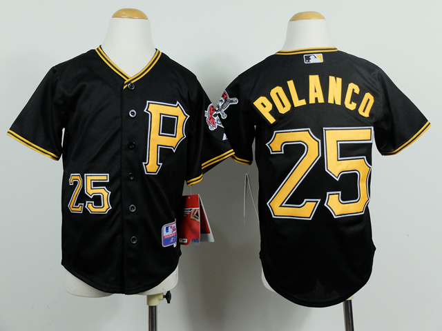 Youth MLB Pittsburgh Pirates 25 Gregory Polanco Black 2014 Jerseys