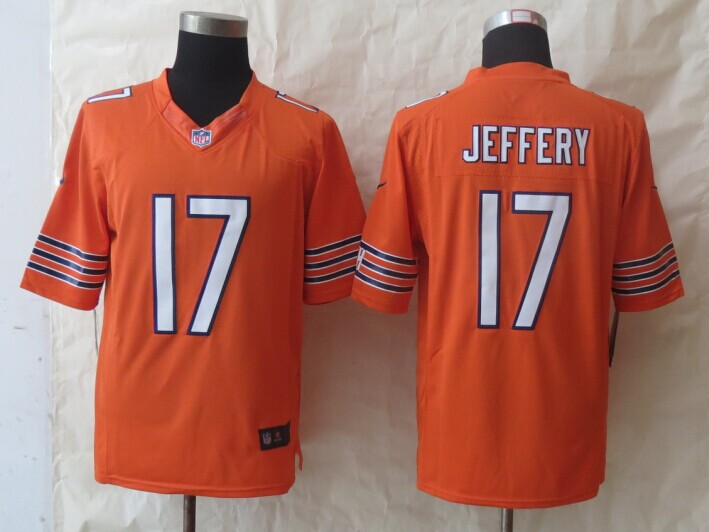Chicago Bears 17 Jeffery Orange New Nike Limited Jerseys