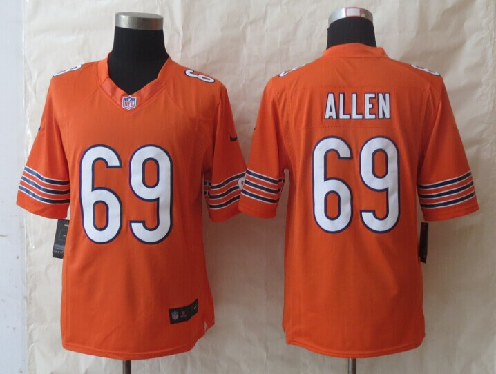 Chicago Bears 69 Allen Orange New Nike Limited Jerseys