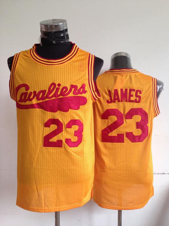 NBA Cleveland Cavaliers 23 Lebron James Yellow Throwback Jerseys