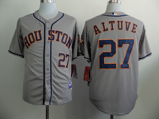 MLB Houston Astros 27 Jose Altuve Grey 2014 Jerseys