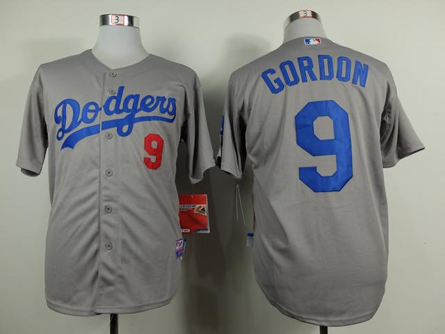 MLB Los Angeles Dodgers 9 Dee Gordon Grey 2014 Jerseys