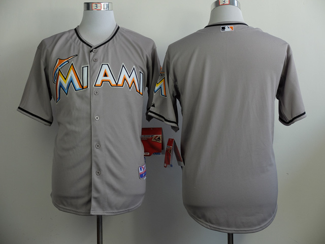 MLB Miami Marlins Blank Grey 2014 Jerseys
