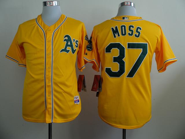 MLB Oakland Athletics 37 Moss Yellow 2014 Jerseys