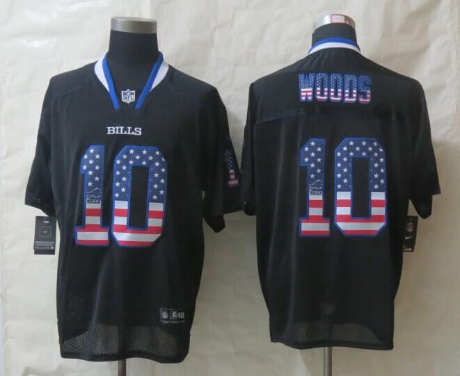 2014 New Nike Buffalo Bills 10 Woods USA Flag Fashion Black Elite Jerseys