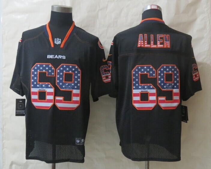 2014 New Nike Chicago Bears 69 Allen USA Flag Fashion Black Elite Jerseys