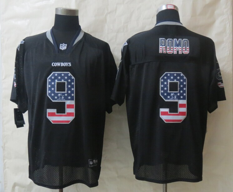 2014 New Nike Dallas cowboys 9 Romo USA Flag Fashion Black Elite Jerseys
