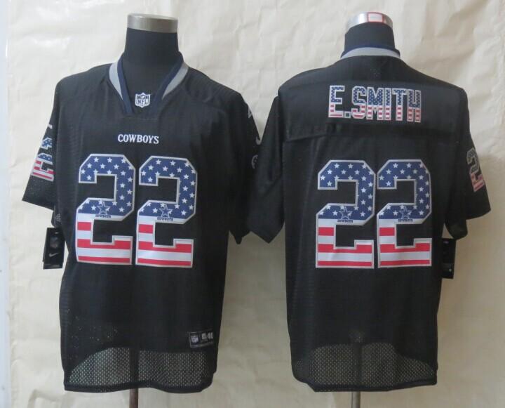 2014 New Nike Dallas cowboys 22 E.Smith USA Flag Fashion Black Elite Jerseys