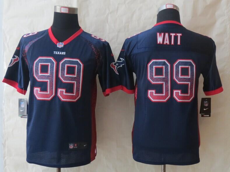 Youth Houston Texans 99 Watt Drift Fashion Blue 2014 New Nike Elite Jerseys