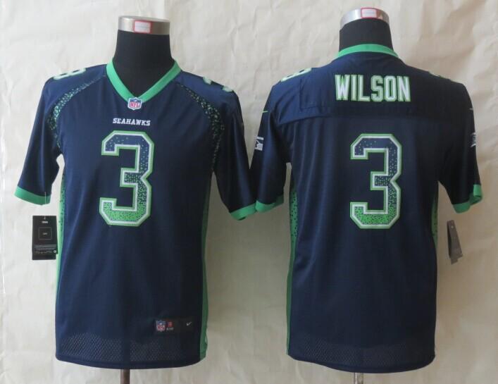 Youth Seattle Seahawks 3 Wilson Drift Fashion Blue 2014 New Nike Elite Jerseys