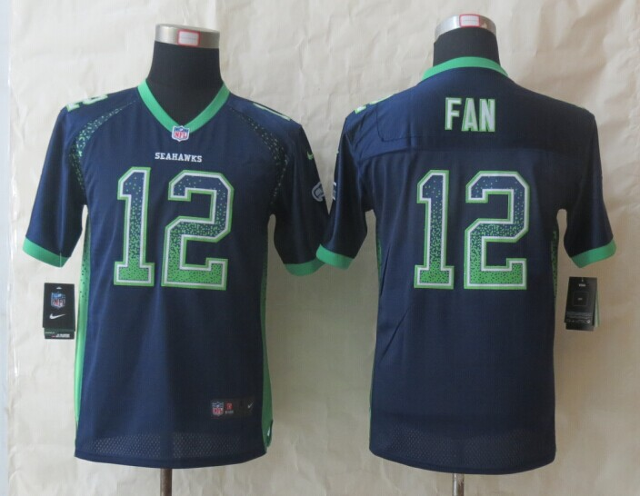 Youth Seattle Seahawks 12 Fan Drift Fashion Blue 2014 New Nike Elite Jerseys