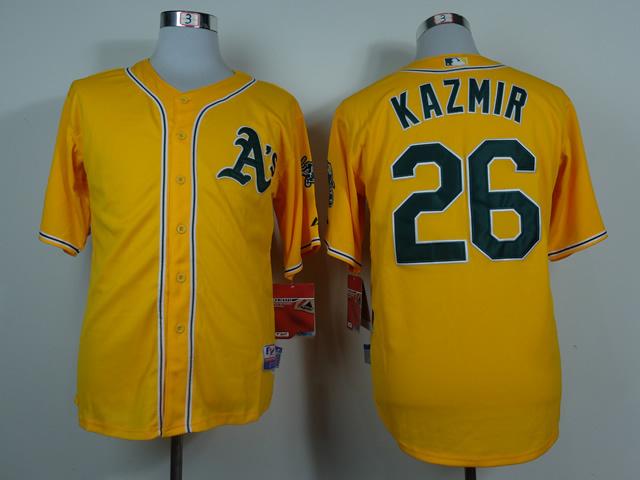 MLB Oakland Athletics 26 Scott Kazmir Yellow 2014 Jerseys
