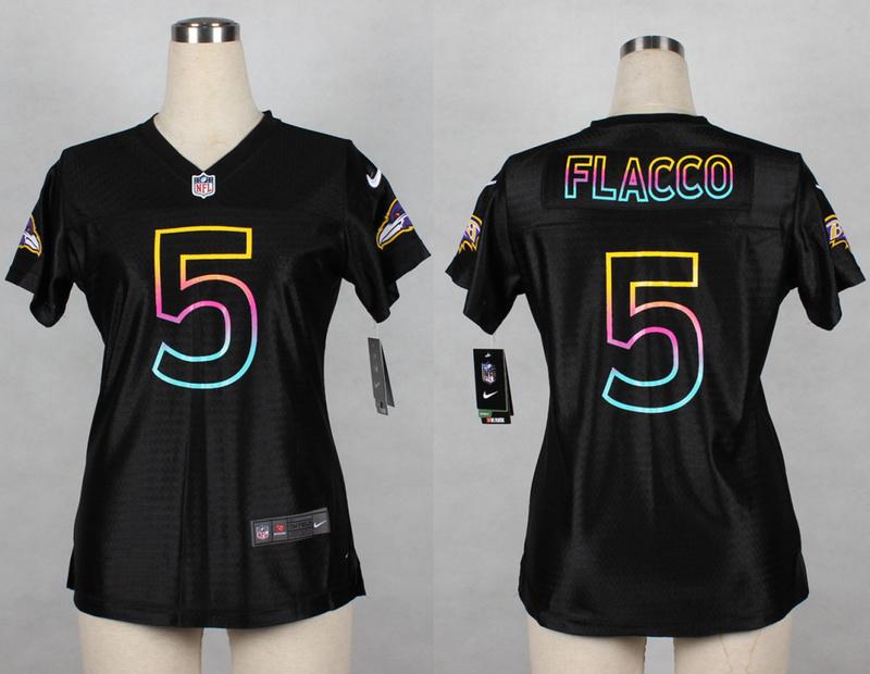 Womens Baltimore Ravens 5 Joe Flacco 2014 Black Fashion Nike Jerseys