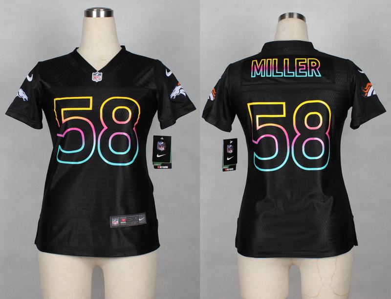 Womens Denver Broncos 58 Von Miller 2014 Black Fashion Nike Jerseys