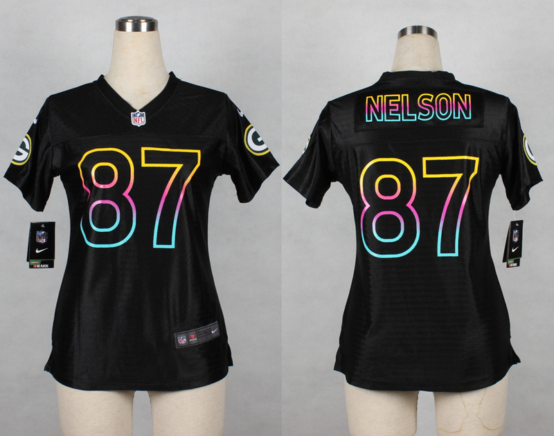 Womens Green Bay Packers 87 Jordy Nelson 2014 Black Fashion Nike Jerseys