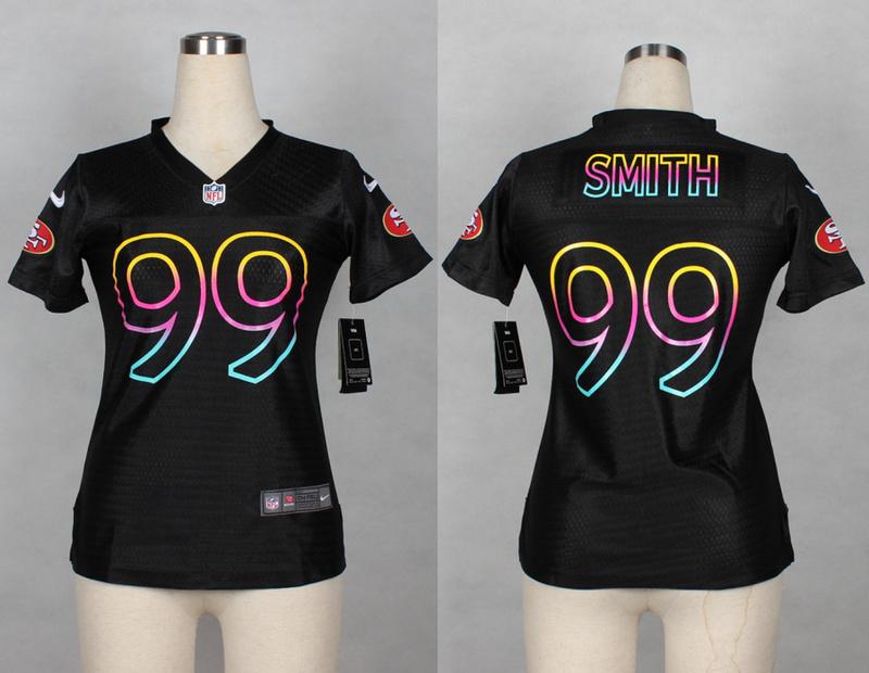 Womens San Francisco 49ers 99 Aldon Smith 2014 Black Fashion Nike Jerseys