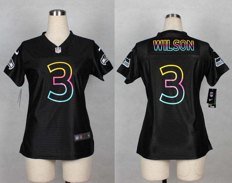 Womens Seattle Seahawks 3 Russell Wilson 2014 Black Fashion Nike Jerseys