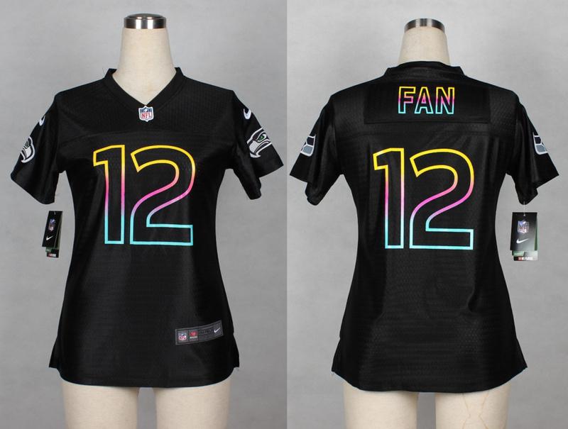 Womens Seattle Seahawks 12 Fan 2014 Black Fashion Nike Jerseys