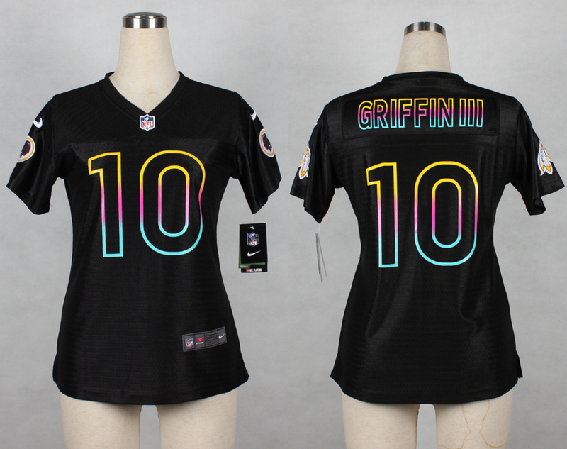 Womens Washington Redskins 10 Robert Griffin III 2014 Black Fashion Nike Jerseys