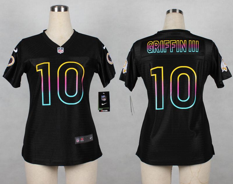Womens Washington Redskins 10 Robert Griffin III 2014 Black Fashion Nike Jerseys
