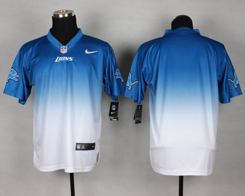 Detroit Lions Blank Blue White Nike Drift Fashion II Elite Jerseys