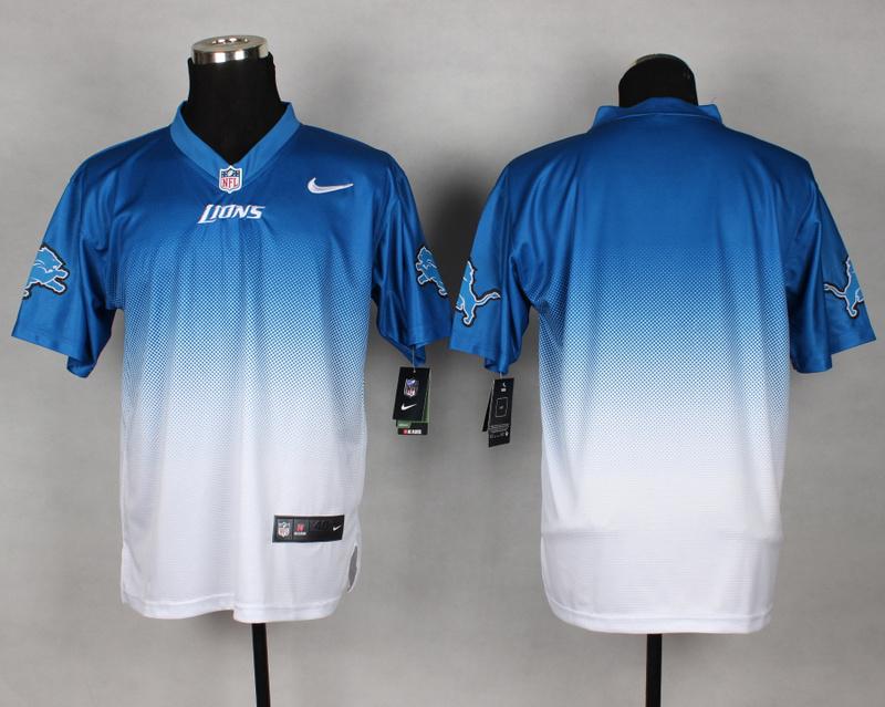 Detroit Lions Blank Blue White Nike Drift Fashion II Elite Jerseys