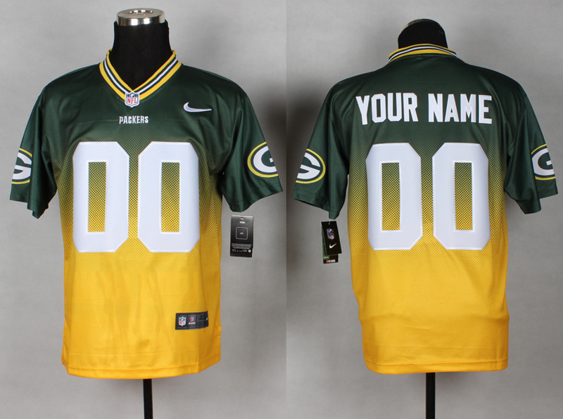 Green Bay Packers 00 Your Name Green Yellow Nike Drift Fashion II Elite Jerseys