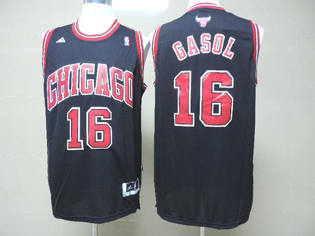 NBA Chicago Bulls 16 Gasol Black 2014 Jerseys