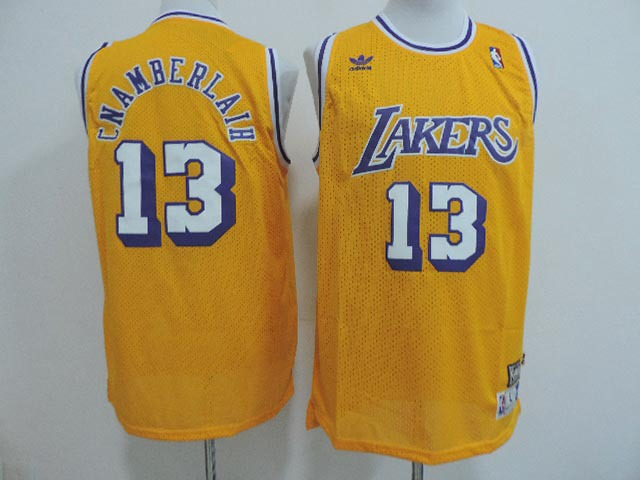 NBA Los Angeles Lakers 13 Wilt Chamberlain yellow 2014 Jerseys
