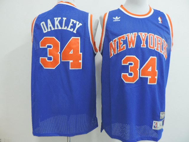 NBA New York Knicks 34 Charles Oakley blue 2014 Jerseys