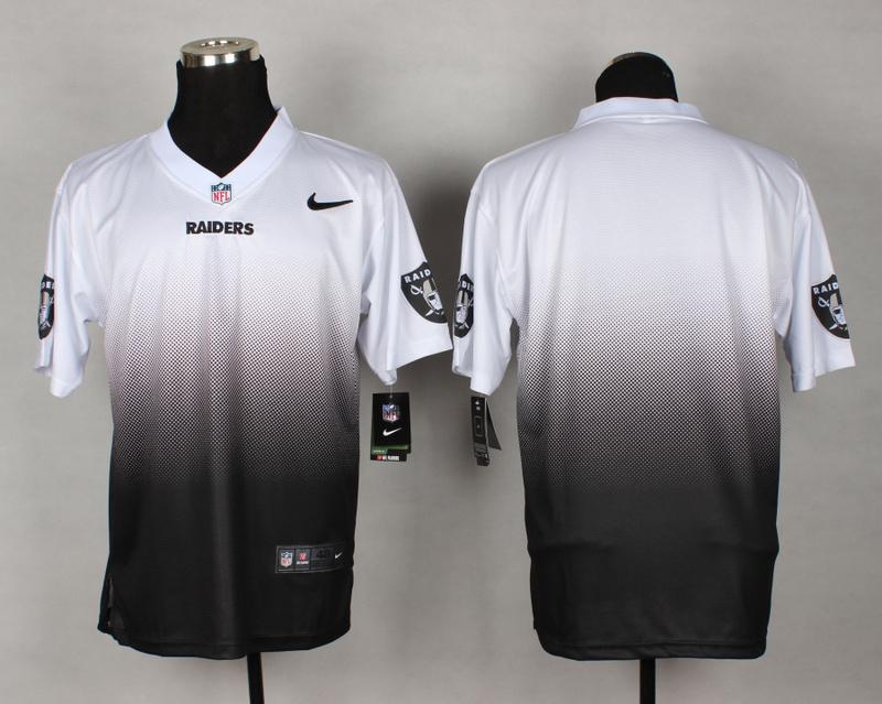 Oakland Raiders Blank White Black Nike Drift Fashion II Elite Jerseys