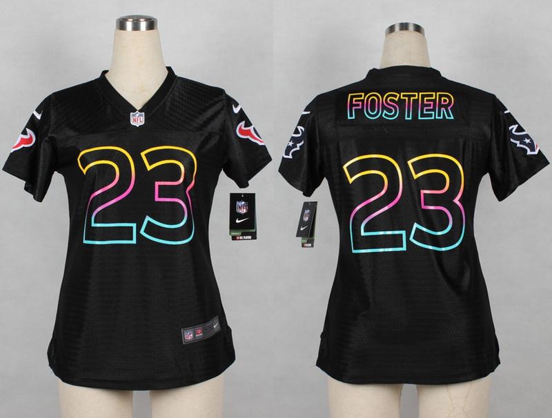 Womens Houston Texans 23 Arian Foster 2014 Black Fashion Nike Jerseys