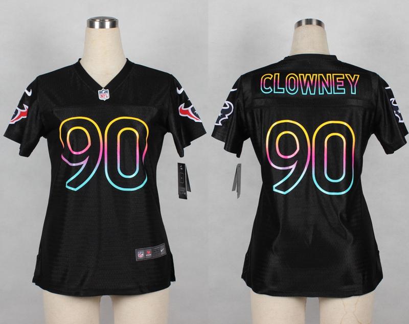 Womens Houston Texans 90 Clowney 2014 Black Fashion Nike Jerseys