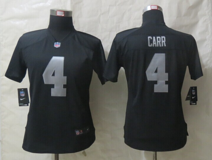 Womens Oakland Raiders 4 Carr Black New Nike Limited Jersey