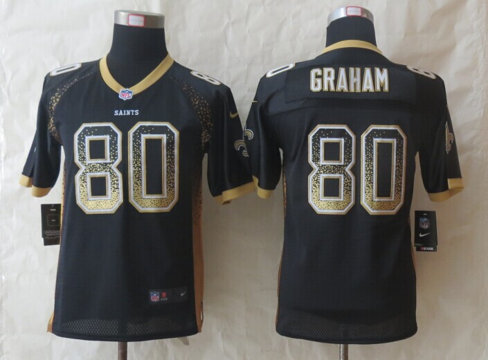 Youth New Orleans Saints 80 Graham Drift Fashion Black 2014 New Nike Elite Jerseys