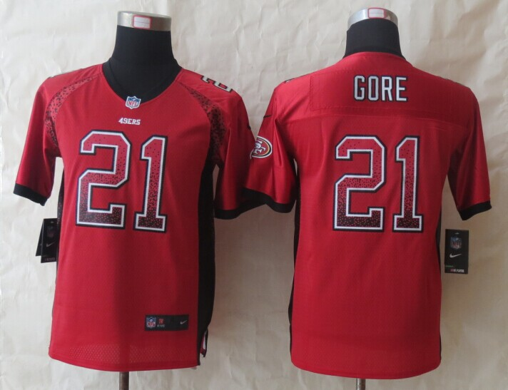 Youth San Francisco 49ers 21 Gore Drift Fashion Red 2014 New Nike Elite Jerseys