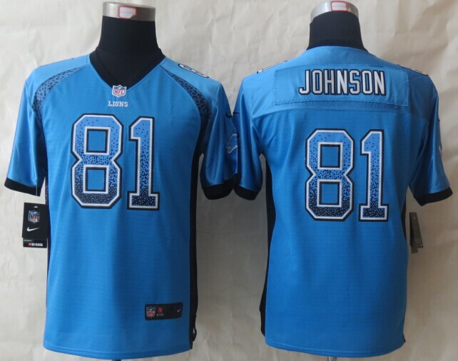 Youth Detroit Lions 81 Johnson Drift Fashion Blue 2014 New Nike Elite Jerseys