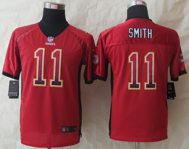 Youth Kansas City Chiefs 11 Smith Drift Fashion Red 2014 New Nike Elite Jerseys