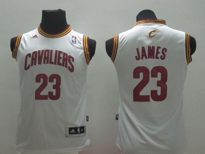 Youth NBA Cleveland Cavalie 23 Lebron James White 2014 Jerseys