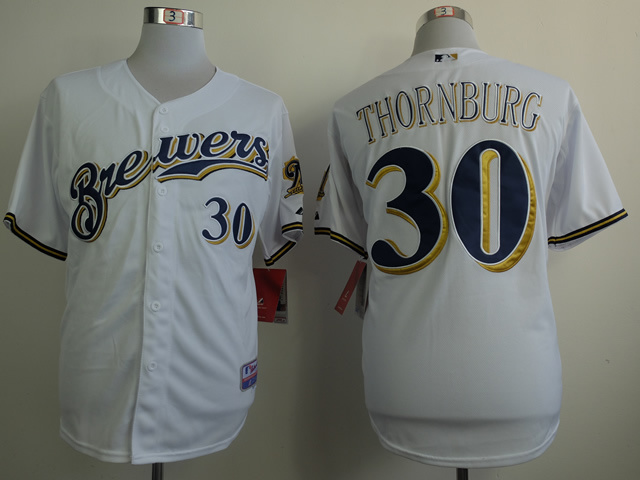 MLB Milwaukee Brewers 30 Tyler Thornburg White 2014 Jerseys