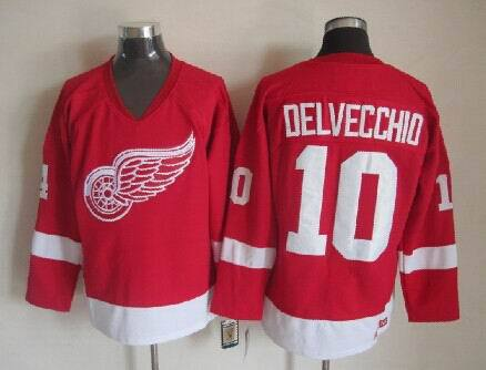 NHL Detroit Red Wings 10 Delvecchid Red 2014 Jerseys