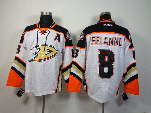 NHL Anaheim Ducks 8 Teemu Selanne White 3rd 2014 Jersey