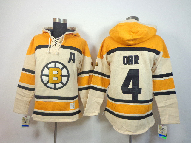 NHL Boston Bruins 4 Bobby Orr cream Pullover Hooded Sweatshirt