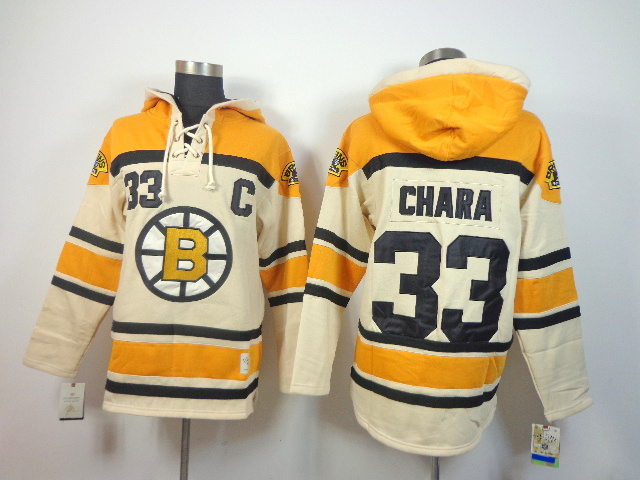 NHL Boston Bruins 33 Zdeno Chara cream Pullover Hooded Sweatshirt