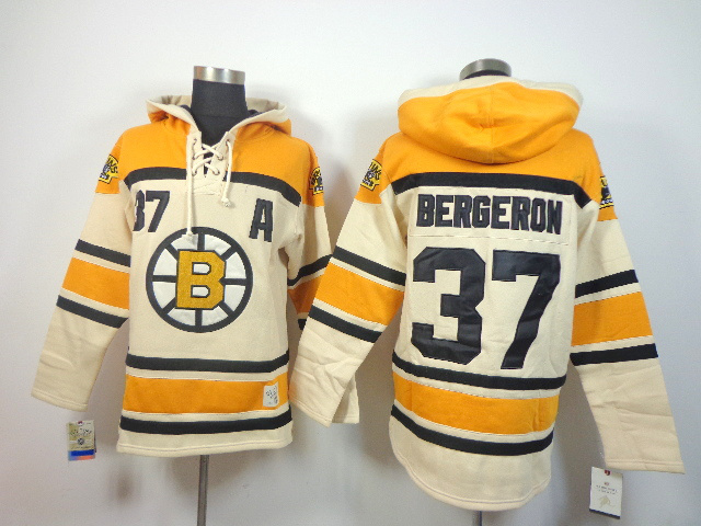 NHL Boston Bruins 37 Patrice Bergeron cream Pullover Hooded Sweatshirt