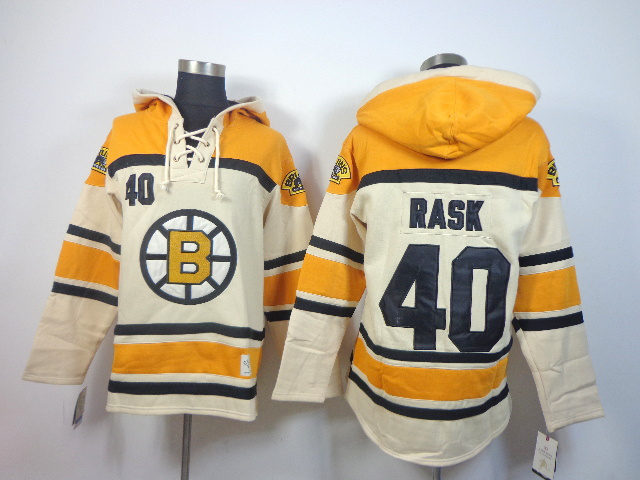 NHL Boston Bruins 40 Tuukka Rask cream Pullover Hooded Sweatshirt