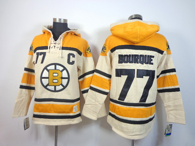 NHL Boston Bruins 77 Ray Bourque cream Pullover Hooded Sweatshirt